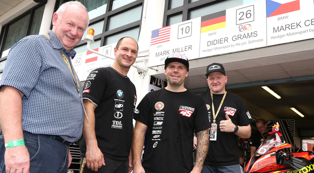 Thumbs up: Vauxhall International North West 200 Event Director Mervyn Whyte with Didier Grams, Marek Cerveny and Team Heidger-Motorsport boss Frankie Heidger at the Macau Grand Prix, where he agreed terms for the German team to race at the 2017 Triangle showpiece