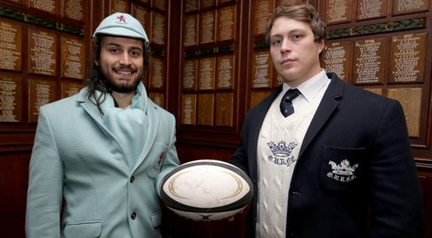 Blue men: Cambridge skipper Daniel Dass (left) meets his opposite number Fergus Taylor (Oxford) ahead of the Varsity Match at Twickenham