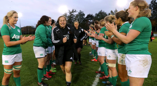 Good show: Ireland girls applaud victorious New Zealand off the pitch at the UCD Bowl