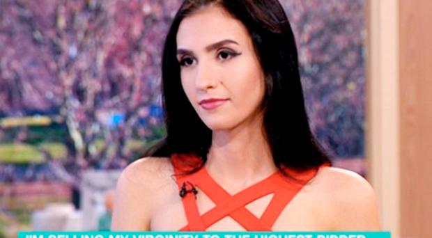 ITV handout videograb image of Aleexandra Kefren being interviewed on This Morning about her plans to sell her virginity to the highest bidder. Photo: ITV/PA Wire