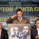 WBA Super World Featherweight World Champion Carl Frampton pictured during Tuesdays press conference with his challenger for the title Leo Santa Cruz at the Europa hotel, Belfast. The two will meet each other in the ring at the MGM Grand in Las Vegas for the rematch after Carl won the title from Santa Cruz in New York. Press Eye - Belfast - Northern Ireland - 29th November 2016 - Photo by William Cherry