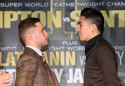 WBA Super World Featherweight World Champion Carl Frampton and Leo Santa Cruz at the Europa hotel, Belfast. 29th November 2016 - Photo by William Cherry