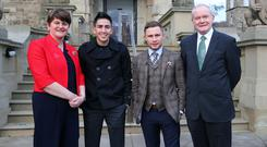 First Minister, the Rt. Hon. Arlene Foster, and the deputy First Minister, Martin McGuinness, have laid out the Stormont welcome mat for world champion Carl Frampton and his title challenger Leo Santa Cruz They are pictured at Stormont Castle. Photo by Kelvin Boyes / Press Eye.