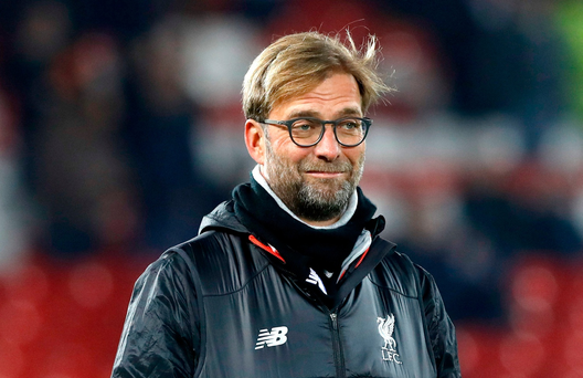 Liverpool manager Jurgen Klopp before the EFL Cup, Quarter Final match at Anfield, Liverpool. PA