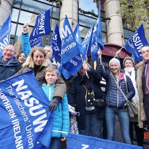Press Eye Belfast - Northern Ireland 30th November 2016 NASUWT The Teachers' Union in Northern Ireland hold a strike and meeting at the Europa Hotel in Belfast over pay increase issues. Picture by Jonathan Porter/Press Eye.