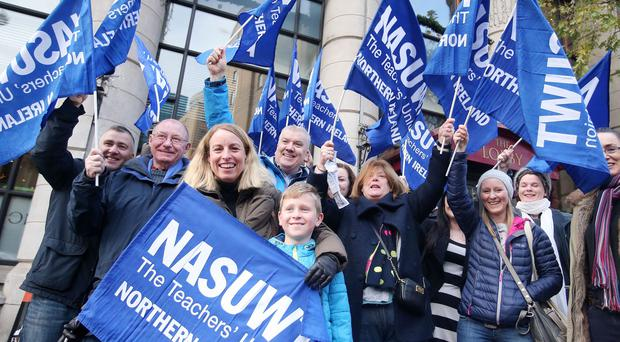 NASUWT teachers' union members members stage one-day strike. A number of those taking part in the strike gathered at the Europa Hotel in Belfast. Picture by Jonathan Porter/Press Eye.