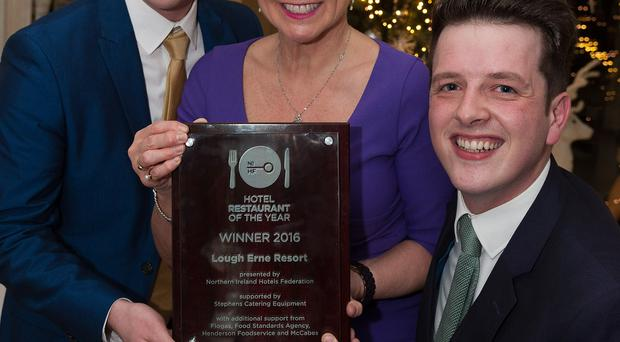 Host Pamela Ballantine congratulates Andrew McKee (left) and Lee Brunt, from Lough Erne Resort and Spa