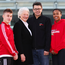 Helping hand: Pictured at the launch of the Sporting Legends Lunch is gymnast Ewan McAteer (age 17 from Lisburn), Dame Mary Peters, Gareth Maguire, CEO and Co-Founder, Sport Changes Life and Victory Scholar Randyll Butler, USA