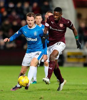Poor night: Andy Halliday (left) was angry at Rangers' display against Hearts on Wednesday night