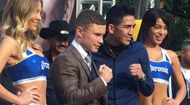 Carl Frampton with challenger Leo Santa Cruz in Los Angeles