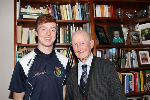 Special bond: A shared passion for St Peter's, Warrenpoint, ensure that midfield ace Eoin Carr and his grandfather Barney Carr (93) have their sights firmly set on victory tomorrow in the Paul McGirr Trophy final