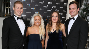©Press Eye - Belfast - Northern Ireland - 1 December 2016 NI Chamber President's Banquet 2016 at Belfast Waterfront. Mike Baird, Georgina Ryan-White, Becky Gamble and Chris Coluin Picture by Andrew Paton/Press Eye