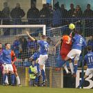 PACEMAKER BELFAST 02/12/2016 Glenavon v Dungannon Danske Bank Premiership Glenavon's Kris Lindsay and Dungannon's Christopher Hegartyduring tonights game at Mourneview Park, Lurgan Photo Alan Weir/Pacemaker Press