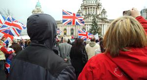 A protest at the height of the dispute following the decision of Belfast City Council to limit the number of days the union flag is flown from Belfast City Hall