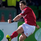 Munster's Ian Keatley kicks a conversion during the match against Glasgow Warriors