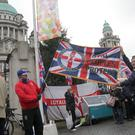 Loyalist flag protesters at Belfast City Hall for the fourth anniversery of the removal of the Union Flag. Pic Colm O'Reilly