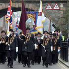 The annual Apprentice Boys parade passes through New Gate as the organisation marked the Shutting of the Gates of the historic city of Londonderry by thirteen apprentices, beginning of the Siege of the City in 1688. The parade culminates in the burning of an effigy of Colonel Robert Lundy who wanted to surrender the city to King James. Picture Martin McKeown. Inpresspics.com. 03.12.16