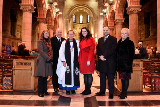 Justice Minister Claire Sugden pictured with (left-right) Anne Beattie, Prison Service Benevolent Fund, Ian Simpson, Chairman, Prison Service Benevolent Fund, The very Reverend John Mann, Dean of St. Anne's, Phil Wragg, Acting Director General, NIPS and Isabel Millar MBE, Prison Service Benevolent Fund. Picture: Michael Cooper