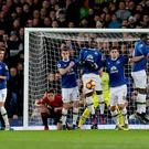 Manchester United's Zlatan Ibrahimovic (left) shoots a free-kick into the wall during the Premier League match at Goodison Park, Liverpool. PRESS ASSOCIATION Photo. Picture date: Sunday December 4, 2016. See PA story SOCCER Everton. Photo credit should read: Peter Byrne/PA Wire. RESTRICTIONS: EDITORIAL USE ONLY No use with unauthorised audio, video, data, fixture lists, club/league logos or