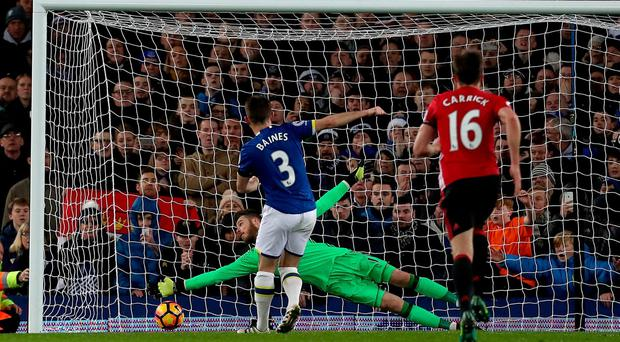 Everton's Leighton Baines scores his side's first goal of the game from the penalty spot during the Premier League match at Goodison Park, Liverpool. PRESS ASSOCIATION Photo. Picture date: Sunday December 4, 2016. See PA story SOCCER Everton. Photo credit should read: Peter Byrne/PA Wire. RESTRICTIONS: EDITORIAL USE ONLY No use with unauthorised audio, video, data, fixture lists, club/league logos or