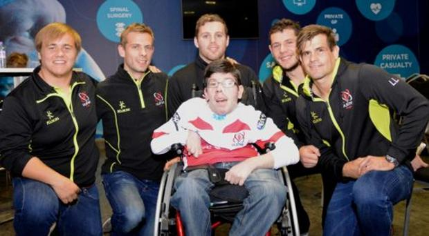 Special supporter: Jamie Donaldson with Kyle McCall, Paul Marshall, Darren Cave, Marcell Coetzee and Louie Ludik