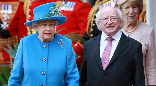 The Queen and Irish President Michael D Higgins during his visit to the UK in April of 2014