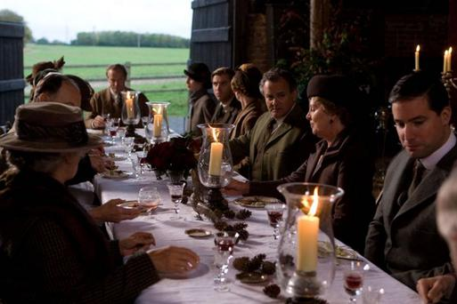 Rich pickings: the cast of Downton dining