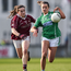 On the ball: Shane O'Neills' Amiee Mackin (right) competes with Bronagh Quinn of Annaghdown