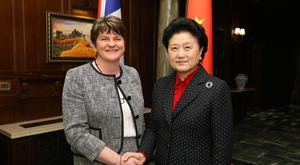 First Minister Arlene Foster with the Chinese Vice Premier, Madam Liu Yandong in Shanghai at the start of the UK-China People to People summit. Kelvin Boyes / Press Eye