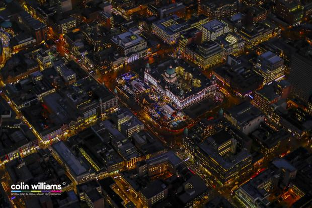 Aerial view Belfast at night by Northern Ireland photographer Colin Bailie. Copyright retained by Colin Williams Photography
