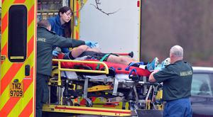 Worrying sight: Ulster player Mark Best left Eaton Park in an ambulance