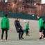 King of the castle: Brendan Rodgers shows his Celtic players how it's done during training at Lennoxtown yesterday