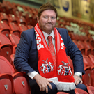 Sitting comfortably: New Portadown manager Niall Currie meets the media at Shamrock Park last night