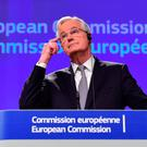 Michel Barnier, chief negotiator for the preparation and conduct of the negotiations with the United Kingdom under article 50 of the Treaty on European Union (TEU) gives a press conference at the European Commission on December 6, 2016, in Brussels.