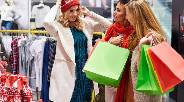In the bag: friends on a Christmas shopping trip