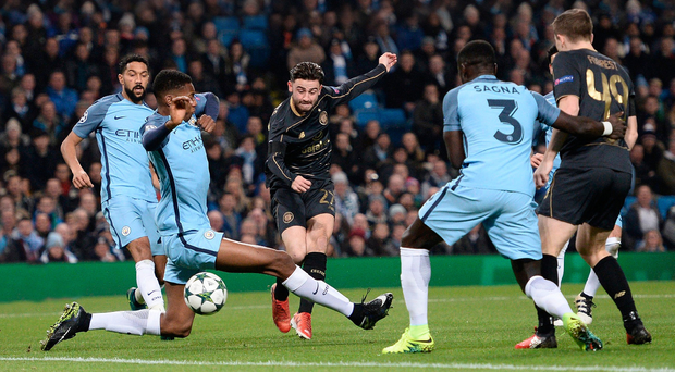 Home comforts: Patrick Roberts fires Celtic in front