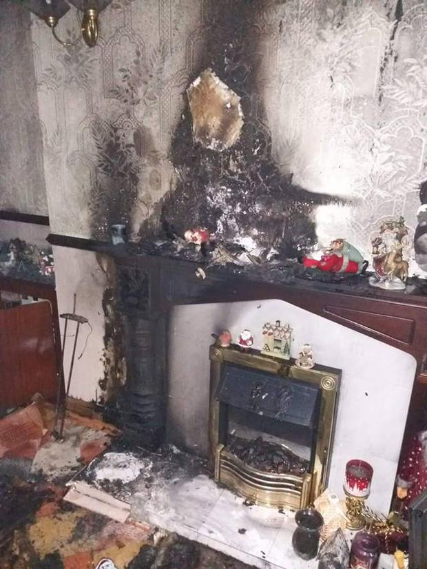 Damage caused to Belfast house after Christmas decoration catches fire.