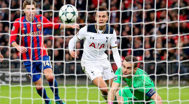CSKA Moscow's Igor Akinfeev scores an own goal, after a shot on target by Tottenham Hotspur's Dele Alli during the UEFA Champions League, Group E match at Wembley Stadium, London. PA