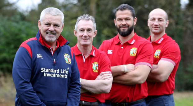 Lion kings: Head coach Warren Gatland with coaches Rob Howley, Andy Farrell and Steve Borthwick