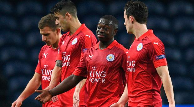 Humbling experience: Leicester players after their 5-0 hammering at hands of Porto last night. Photo: David Ramos/Getty Images