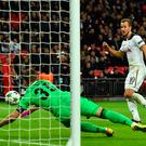 Net gains: Harry Kane puts Tottenham in front against CSKA Moscow at Wembley last nighthe. Photo: Glyn Kirk/AFP/Getty Images