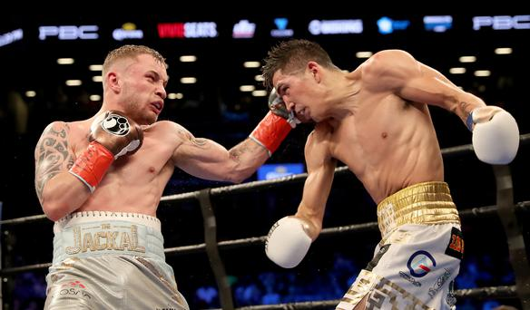 Boxing clever: Carl Frampton on attack against Leo Santa Cruz