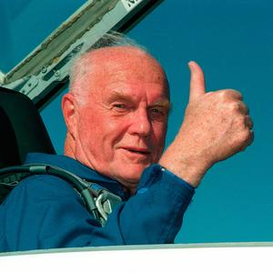 his NASA file photo taken on October 26, 1998 shows US astronaut and senator John Glenn arriving at the Kennedy Space Center for his 29 October scheduled launch aboard the US Space Shuttle Discovery. AFP/Getty Images