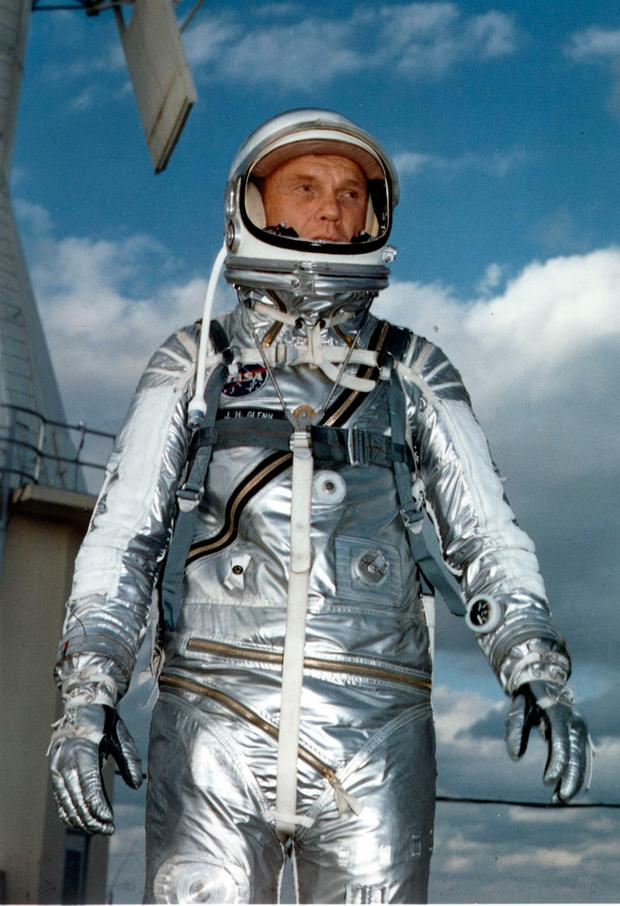 This file photo dated February 1962 shows US astronaut John Glenn wearing a Mercury pressure suit during training for his 20 Feburary 1962 space flight aboard Friendship 7 in which he became the first American to orbit the Earth. AFP/Getty Images