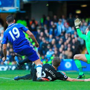 Chelsea's Diego Costa scoring his side's first goal of the game during the Premier League match at Stamford Bridge (Press Association)