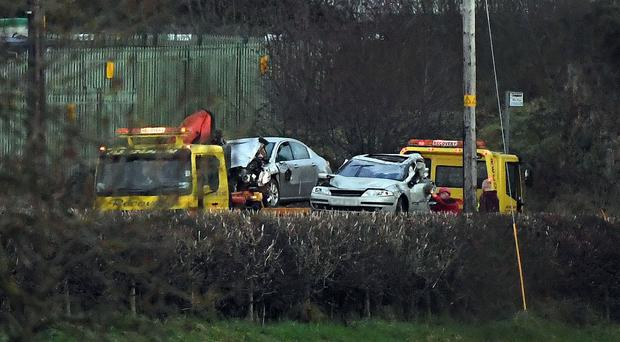 Cars being removed from the crash scene near Omagh - Picture by Justin Kernoghan