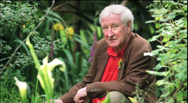 Poet John Montague in his garden at home in Ballydehob, Co Cork (Tony Gavin)