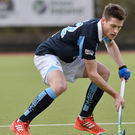Blue is the colour: Michael Robson making his debut for Lisnagarvey in the Irish Hockey League