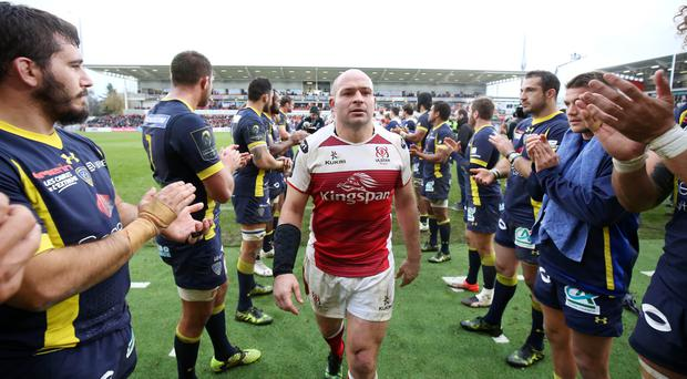 Well done: Rory Best leaves the field after Ulster's victory over Clermont