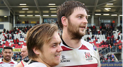 Crunch game: Iain Henderson (right) with Kyle McCall at the end